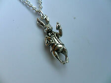 Unusual Alice in Wonderland Silver Rabbit  Necklace