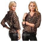 Mode Damen Sexy Chiffon Bluse Leopard Langarm Shirt Tops Hemd Gr. 34 36 38 40 42