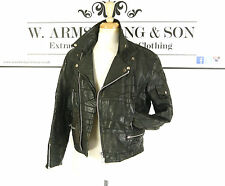 Men's Black GENUINE LEATHER 70s Moto BIKER Racing PUNK VTG Patchwork Jacket M