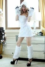 White Furry Animal Sexy Polar Bear Girl Adult Woman Costume for Halloween Party