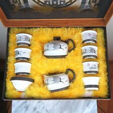 Chinese Traditional White Floral Ceramic Teapots Tea Set - New in original box