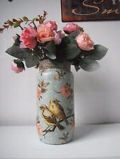 Decorated Vintage, Shabby Chic glass vase with flowers. Gift/present