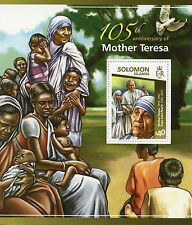 Solomon Islands 2015 MNH Mother Teresa 105th Anniv 1v S/S Pope John Paul II Dove