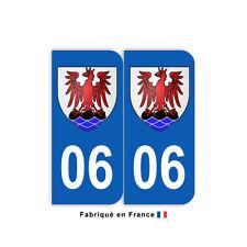 Stickers pour plaque département 06 Alpes-Maritimes (jeu de 2 stickers) blason