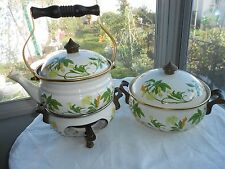 ASTA German Cast Iron Enamelware Teakettle Casserole Chafing Dish Sterno w/ Lids