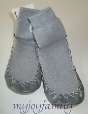 HANNA ANDERSSON Swedish Slipper Moccasins Heather Grey 1-3 32-35 NWT
