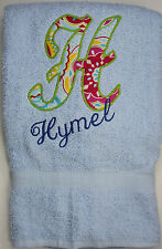 Personalized Embroidered Fabric Applique Letter and Name Bath Towel for Girls