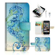 iPhone 5 5S Flip Phone Case Cover PB10488 Sea Horse