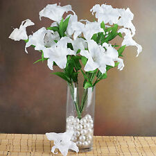 54 White XL SILK LILY FLOWERS Artificial Wedding Party Bouquets Centerpieces