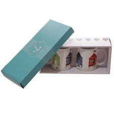 Jan Pashley Beach Hut Design Mugs Set of 2 Bone China 350ml Gift Box Seaside Sea