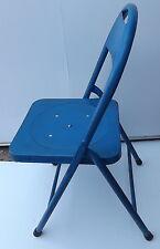Chaise pliante Vintage en fer métal années '70 Blu cm 84hx40 cafè original