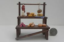Nativity Village Accessory Market Stand Food Vendor Stand Cheese Salami Bread