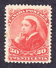 CANADA 1893 SCOTT 46 - QUEEN VICTORIA WIDOW'S WEEDS 20¢ VERMILION - LH OG