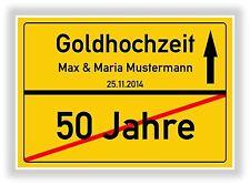 Ortsschild - Bild - Goldhochzeit - Hochzeit 50 Jahre - Geschenk - Jubiläum - NEU
