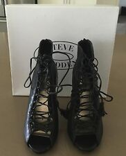 """Pre-owned STEVE MADDEN """"Rebecka"""" Stiletto Lace Up Black Shoes Size 9.5"""