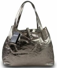 Made in Italy Luxus Damen Schultertasche Beutel Echt Leder Bicolor-Metallic Gold