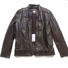 NEW ANDREW MARC NEW YORK BROWN LEATHER CAFE MOTO BIKER MOTORCYCLE JACKET LT