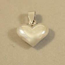 .925 Sterling Silver 15 MM PUFFY HEART Pendant NEW Small Love Valentine 925 PW54