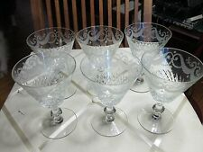 SET 6 ANTIQUE CUT CRYSTAL Etched Swags GLASS STEM Water Glasses