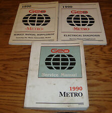 1990 Geo Metro Shop Service Manual + Supplement + Electrical Diagnosis Lot of 3