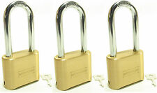 Lock Brass Master Combination #175LH (Lot of 3) Long Shackle Resettable Secure