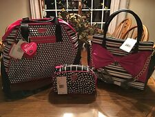 Betsey Johnson Weekender Travel Logo Stripe Dots Satchel Purse Cosmetic Bag Set