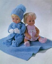 KNITTING PATTERN TO MAKE 8 ITEMS BABY DOLLS CLOTHES & PRAM RUG 12-14-16""