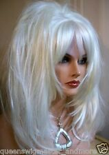 Drag Queen Wig White Blonde Shoulder Lenght Layered Feathered  to Face
