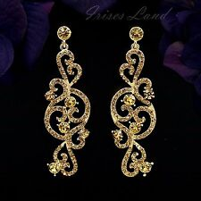 18K Gold Plated GP Topaz Crystal Rhinestone Chandelier Drop Dangle Earrings 9822