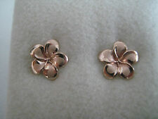 9ct rose gold frosted & shiny flower stud earrings NEW ARRIVAL ON PROMOTION