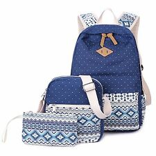 Women's School Bag Polka Dot 3 Pcs Bags Set Schoolbag Backpack Leisure Bag 7 Co
