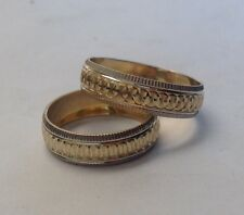 14K SOLID TWO TONE GOLD HIS & HER WEDDING BAND RING SET 5-13 free engraving