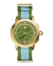 NIB Authentic Tory Burch Stripe Gold Green Blue Chronograph Watch