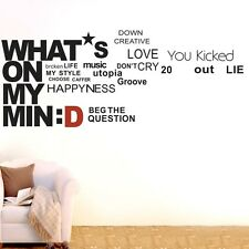 What's On My Mind Wall Quote Decal Removable sticker Home decor Vinyl art DIY