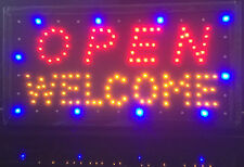 Flashing Illuminating LED NEON Open Welcome Sign for Shop Window