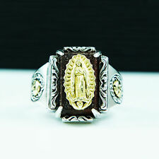 GOLD BRASS AVE MARIA 925 STERLING SILVER US Size 12 MEN'S BIKER RING gb-r011