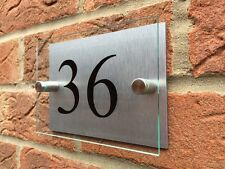 MODERN HOUSE SIGN PLAQUE DOOR NUMBER/STREET GLASS EFFECT ACRYLIC