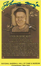 JOHNNY MIZE SIGNED BASE BALL HALL OF FAME PLAQUE CARD NY YANKEES CARDINALS GIANT