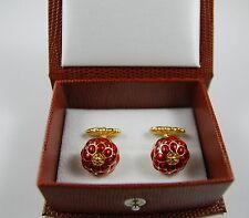 "Art Nouveau Raspberry Enamel Cufflinks 0.6"" Diameter Men's Cufflinks Gold Plate"
