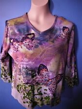 BUTTERFLY EMBELLISHED SHIRT SZ L