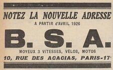 Y7706 B.S.A. - Motos - Vélos - Pubblicità d'epoca - 1926 Old advertising