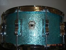 Ludwig Classic Snare Drum Beautiful Teal Sparkle 6 1/2x14 10 lug barely used!