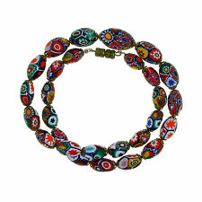 Moretti glass necklace, millefiori  beads, 1930. Murano Venezia