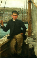 Oil painting Henry-Scott-Tuke nude young boy Our Jack standing on the ship