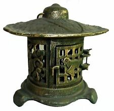 Vintage Pagoda style Elegant Solid Cast Iron Footed Garden Lantern with hanger