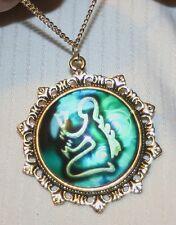Lovely Fleur de Lis Starburst Rim Blue & White Virgo Zodiac Goldtone Necklace