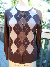 APT.9 CARDIGAN SWEATER 100% CASHMERE BROWN ARGYLE SIZE X-LARGE