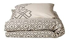 IKEA Cotton Twin Duvet w/ Standard Pillowcase ~ Hearts ~ Khaki & Black **NEW**