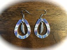 Beaded Teardrop Hoop Earrings w/ Feather Native American Style Beadwork, Purple