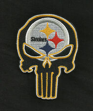 STEELERS Punisher Skull Rockabilly Motorcycle Biker Patch - Iron ON